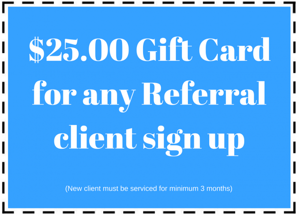 Pool maintenance coupon for $25 gift card on any client referral
