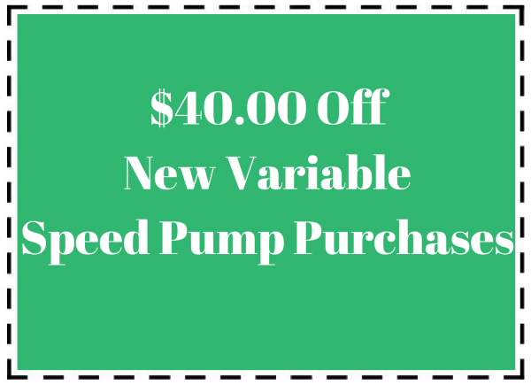 Pool maintenance coupon for $40 off new variable speed pump purchases