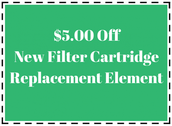 Pool maintenance coupon for $5 off new filter cartridge replacement