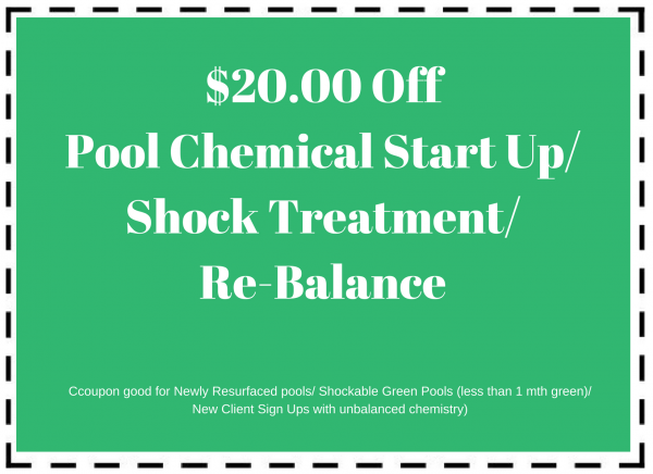 Pool maintenance coupon for $20 off pool chemical start up/shock treatment/re-balance
